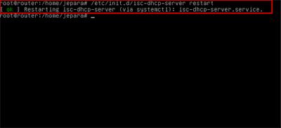 Setelah terkonfigurasi semua, selanjutnya restart service dhcp server nya