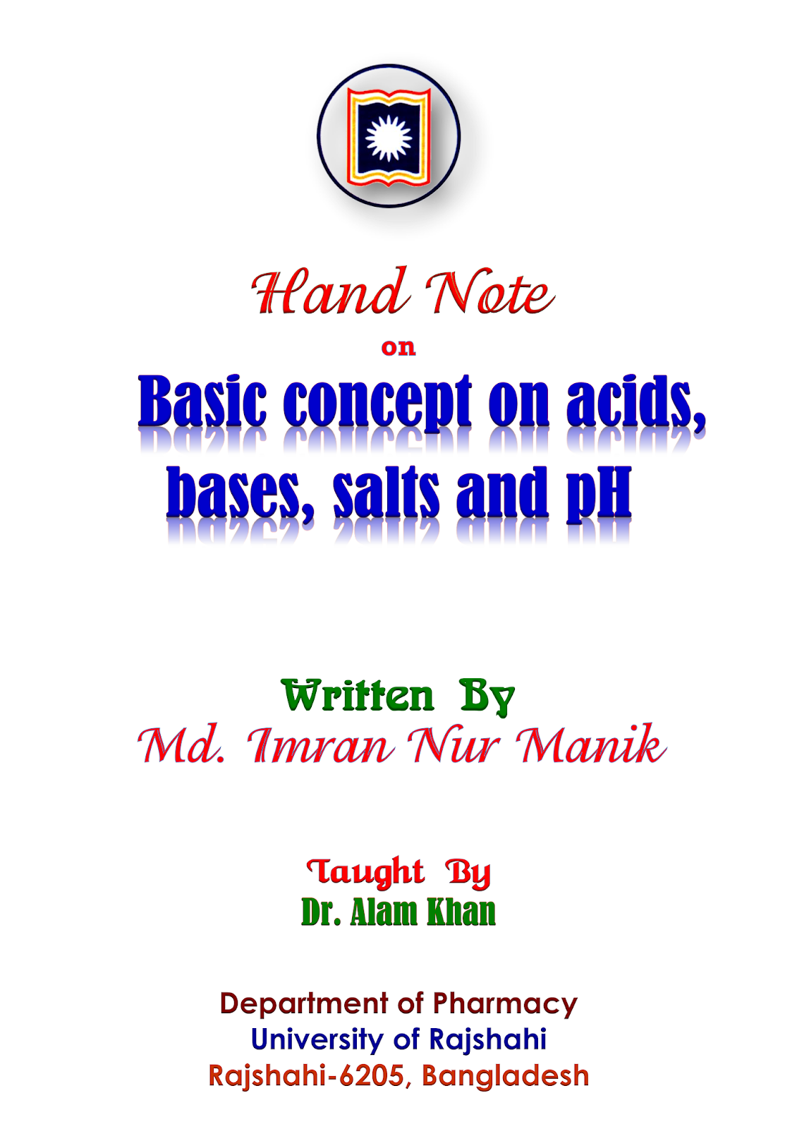 Essential Pharma Documents Hand Note Basic Concept On