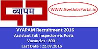 VYAPAM Recruitment 2016