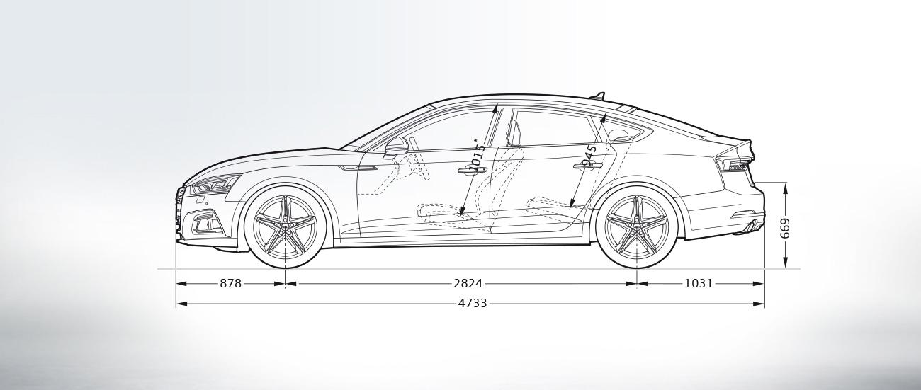Audi A5 Sportback 2016-2017 Dimensioni e Misure bagagliaio