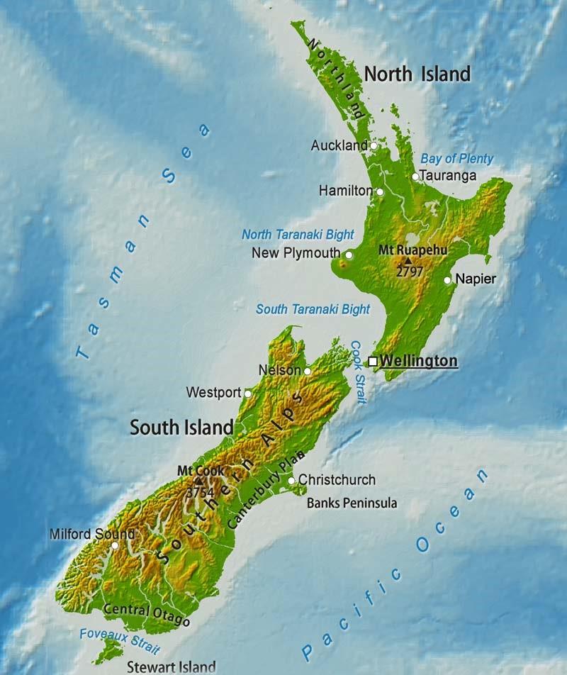 Cartina Nuova Zelanda.New Zealand Cartina Geografica