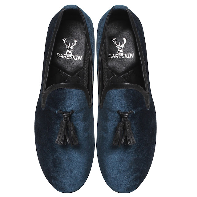 BARESKIN BLUE VELVET  LEATHER     TASSEL SLIP-ON SHOES