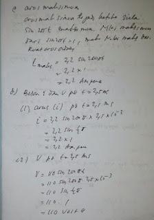 Suatu rangkaian AC yang memiliki tegangan maksimum 110 v dihubungkan dengan hambatan 50 ohm. Jika frekuensi sumber tegangan 100 Hz. Maka tentukan:  a. frekuensi anguler   b. Persamaan arus dan tegangan bolak-balik   c. Arus maksimum   d. Besar arus dan tegangan pada saat t = 2,5 ms!