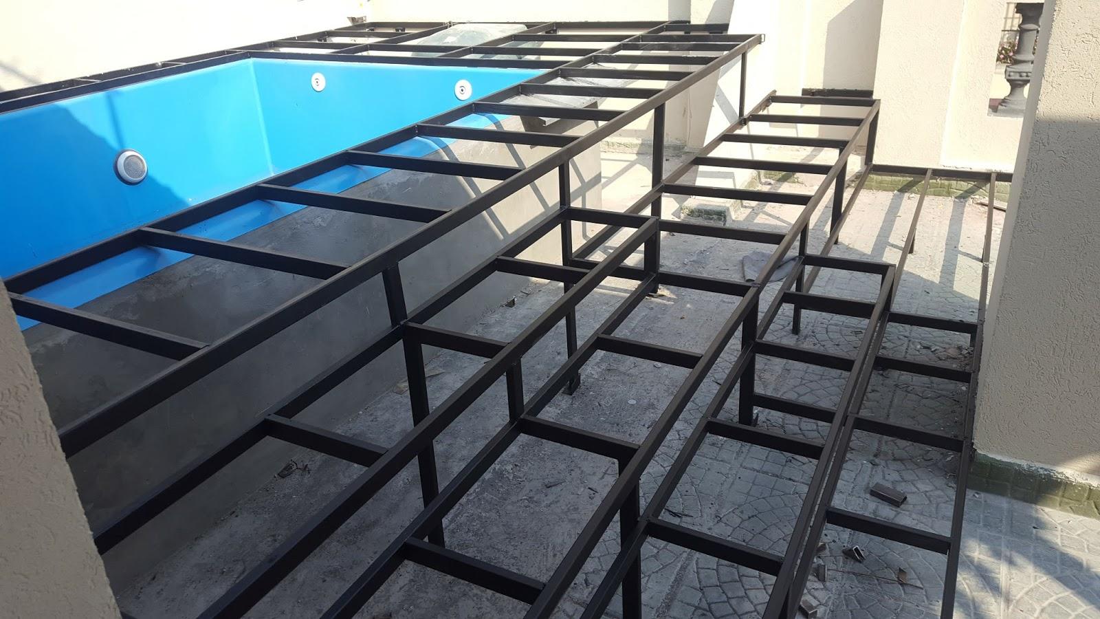 Pool deck metal frame
