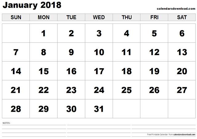 January 2018 Calendar, Free January 2018 Calendar, January 2018 Calendar Printable, January 2018 Calendar Template, January Calendar 2018