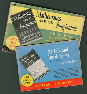 "Armed services editions of ""Mathematics and the Imagination"" and ""My Life and Hard Times."""