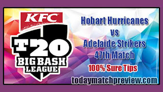 Today BBL T20 47th Match Prediction Adelaide vs Hobart Dream 11 Team