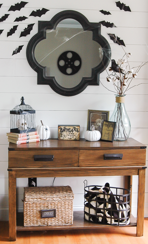 Bat cutouts and thrifty Halloween decor