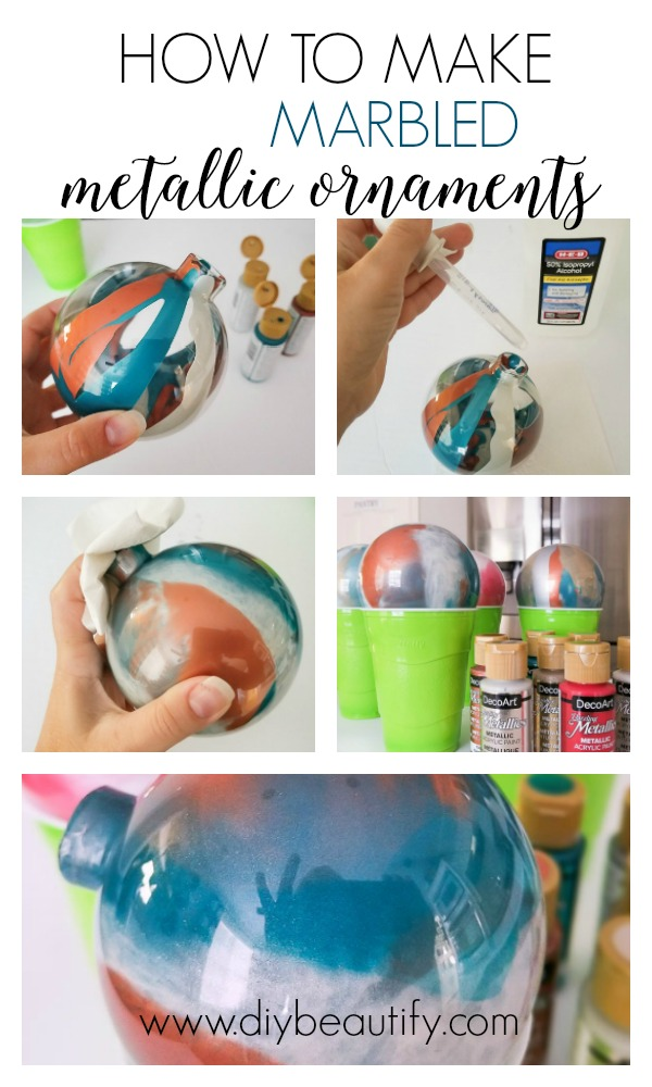 easy marbled metallic ornaments