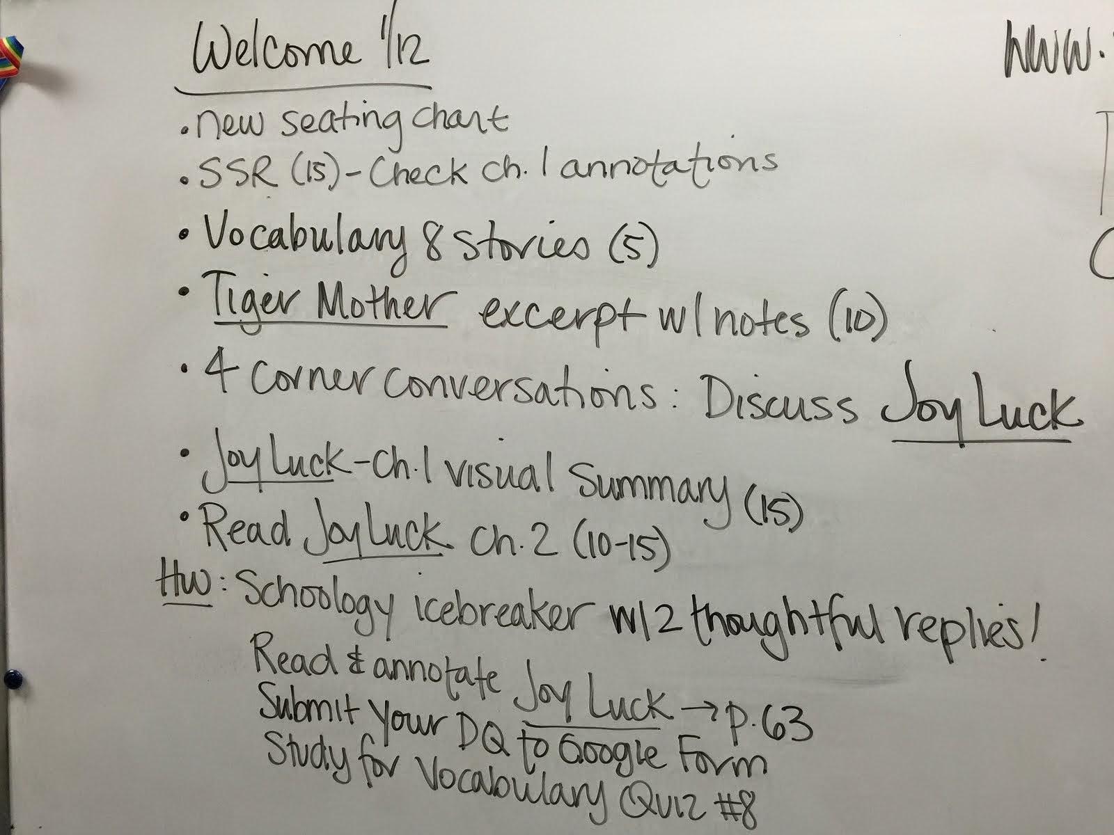 Tucker S English Class January