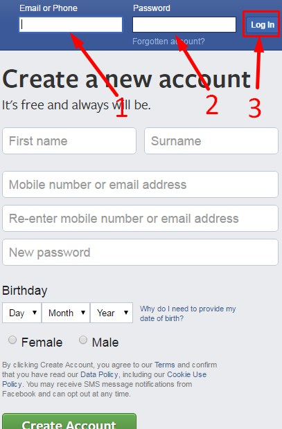 Facebook Login Create New Account Facebook New Account Open