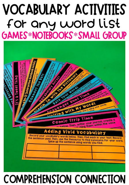 Vocabulary instruction will never get stale or boring if you have a variety of activities to choose from. This blog post includes 20+ ideas for teaching and practicing vocabulary. A strong vocabulary leads to improved comprehension. See how these task cards can be used for vocabulary fun.