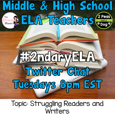 Join secondary English Language Arts teachers Tuesday evenings at 8 pm EST on Twitter. This week's chat will be about supporting struggling readers and writers.