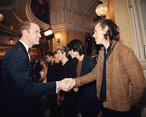Prince William with Harry Styles from One Direction in Saint Laurent by Hedi Slimane Spring Summer 2015 leopard print short jacket at Royal Variety Performance 13th November 2014