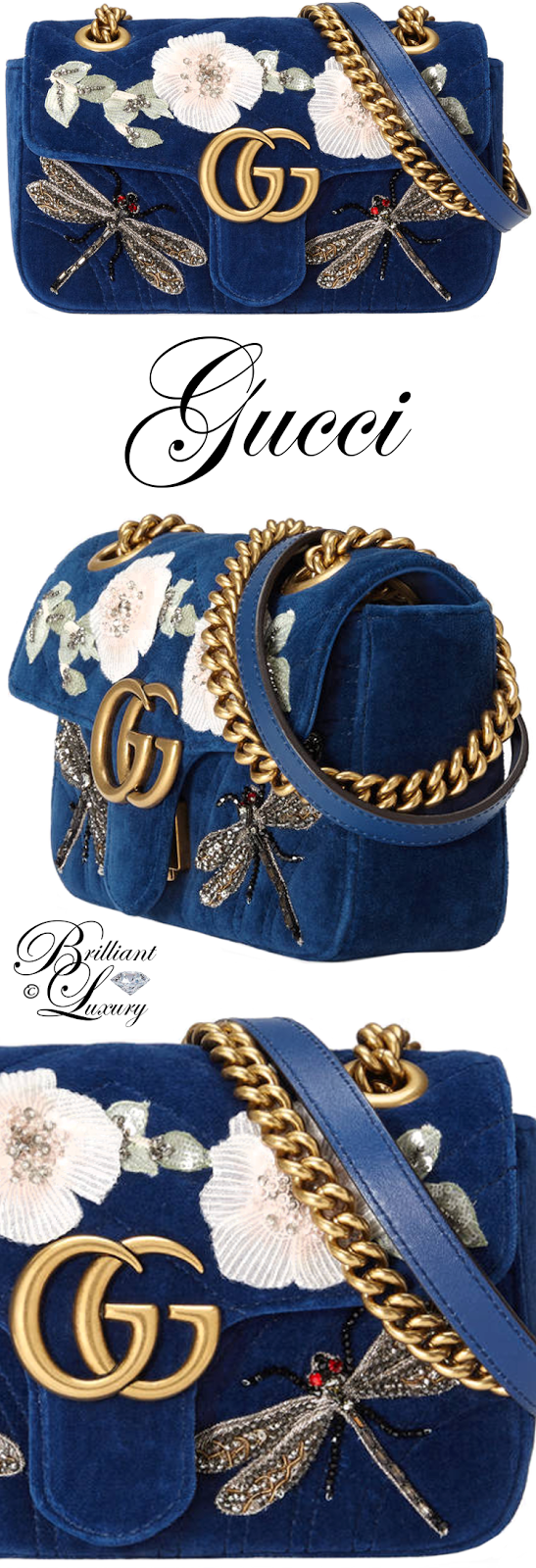 Brilliant Luxury ♦ Gucci GG Marmont Embroidered Velvet Mini Bag