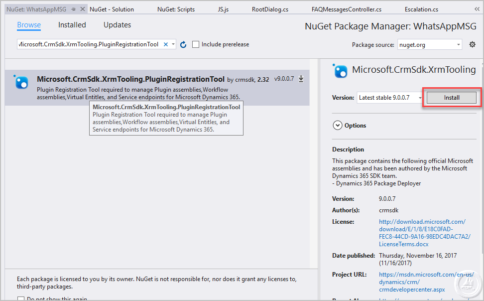 Get Plugin Registration tool and assemblies from NuGet Packages for