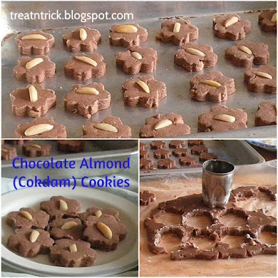 Chocolate Almond (Cokdam) Cookies Recipe @ treatntrick.blogspot.com