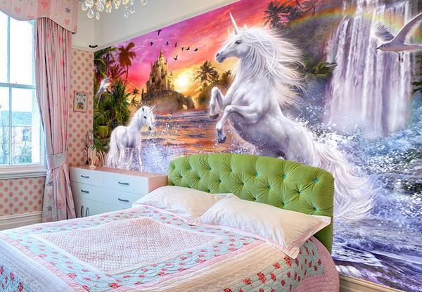 Tapetti lastenhuoneeseen 3D Lasten Tapetti Yksisarvinen Unicorn