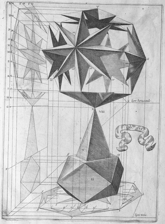 art + geometry perspective engraving from 1600s