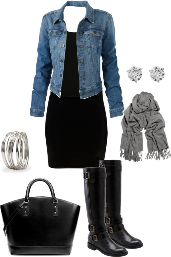 Black Dress With Jean Jacket And Accessories Combination | Combination Of Clothes And ...