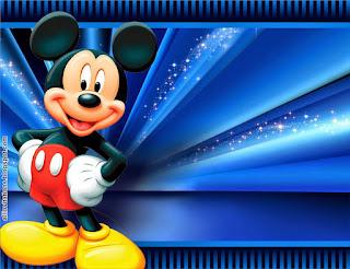 Etiquetas de Mickey con Fondo Azul para imprimir gratis.