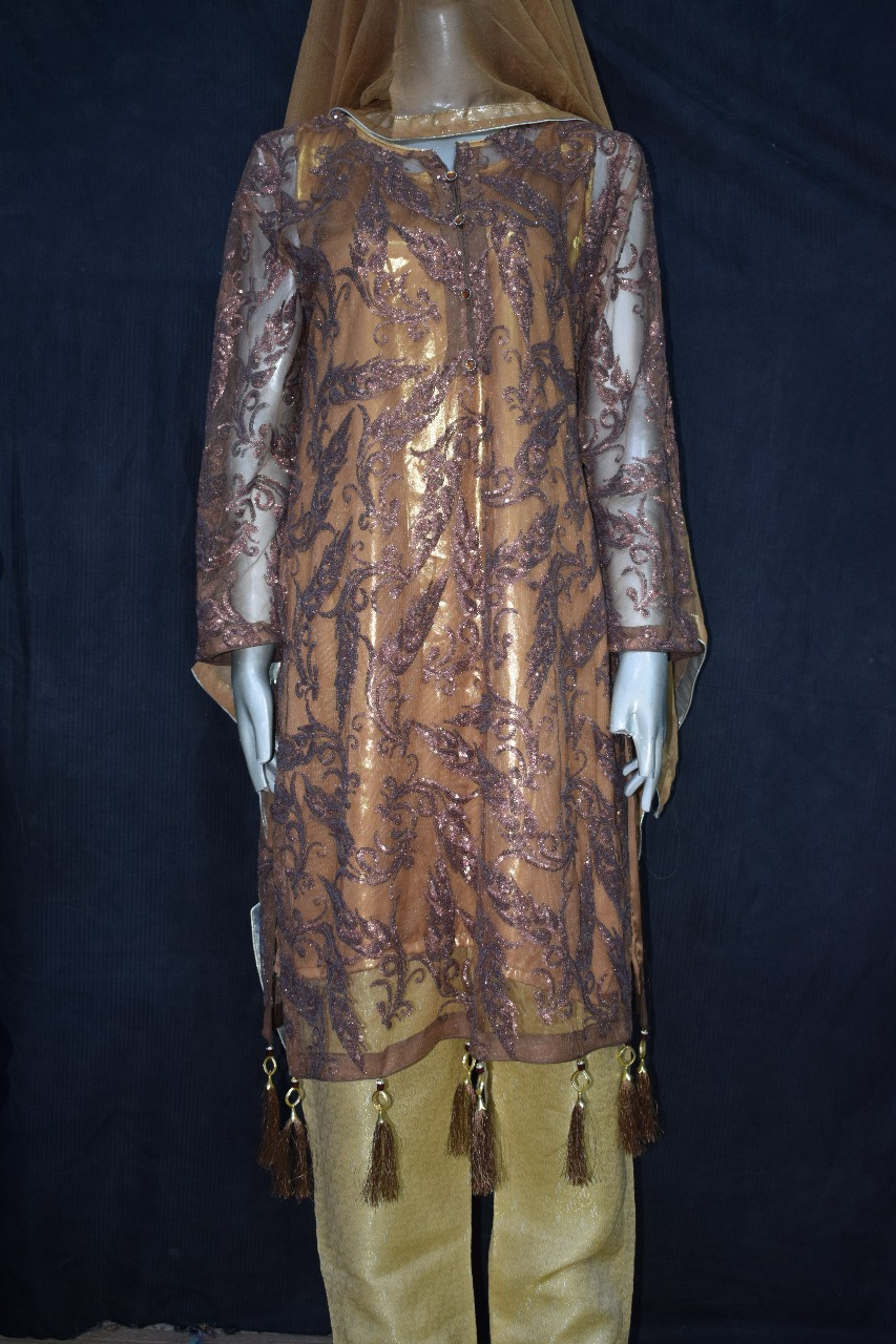 b3f122ad0e ... Suit is that it's made up of fully beautiful designed in Brown Colored  Embroidery over Koren Net shirt with the Brown color inner lining of Grip/ Silk ...
