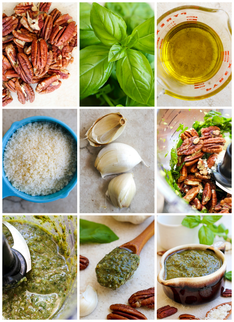 Pecan Basil Pesto is a twist on traditional pesto that uses pecans instead of pine nuts. It is super versatile and can be used in so many ways!  #pesto #pecans