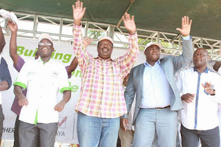 ANC leader Musalia Mudavadi with other party members in Bungoma. PHOTO | Courtesy