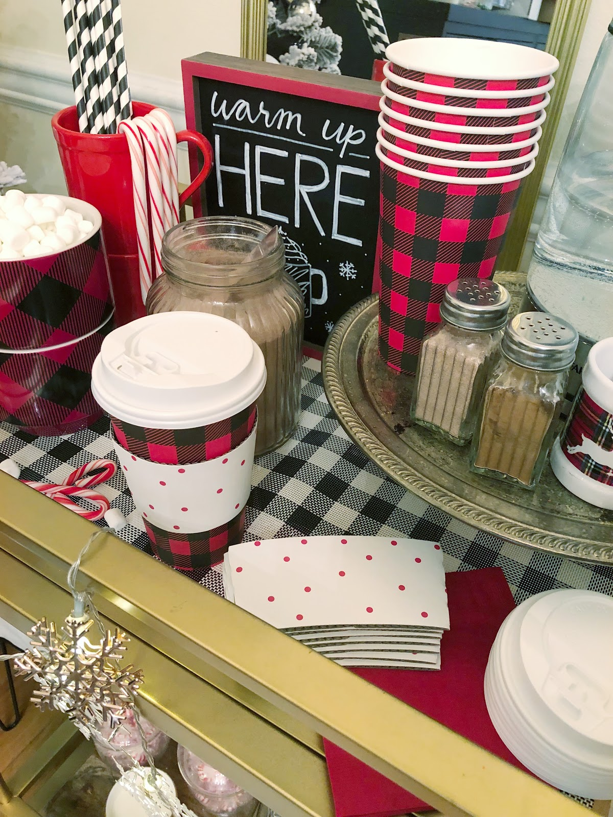 black, white, and red hot cocoa bar
