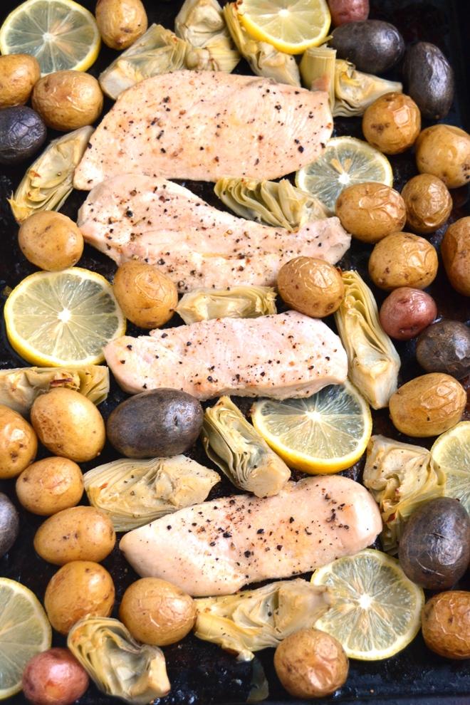 Sheet Pan Lemon Artichoke Chicken - The Nutritionist Reviews