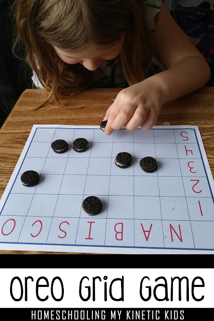 girl playing Oreo grid game