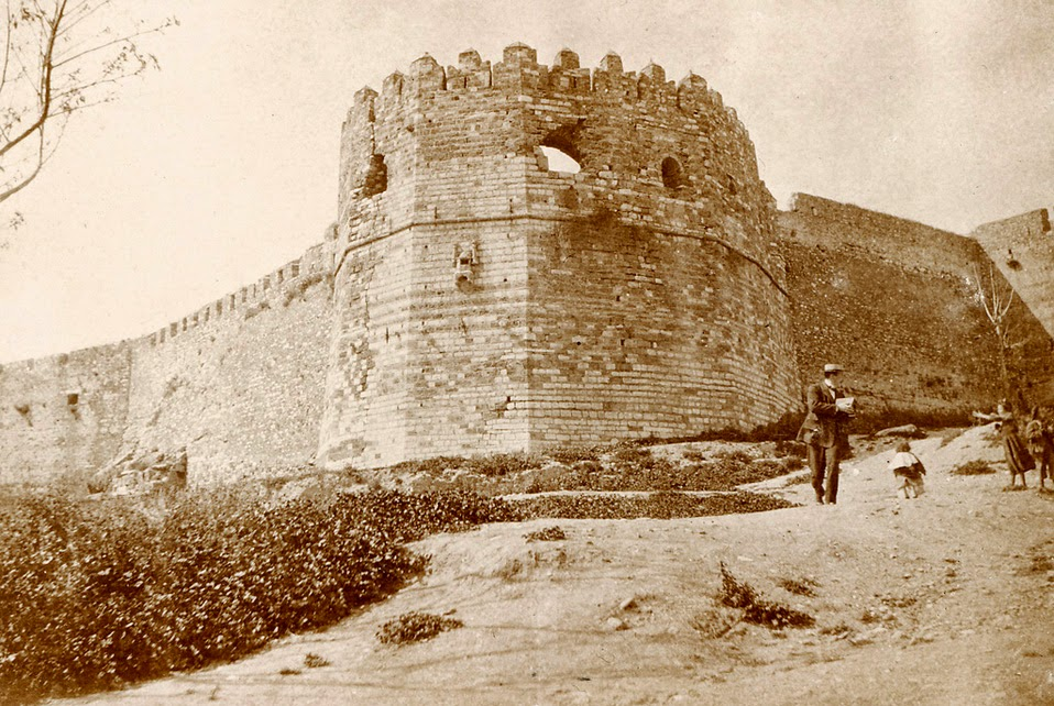 People outside a fortress in Patras, Greece, photographer unknown, c. 1890