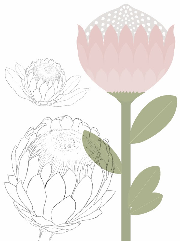 Happiness is... Custom Designed Protea Themed Scrapbooking Pack - illustrated proteas
