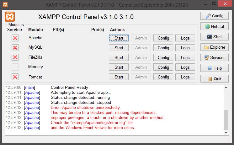 Apache Xampp Error