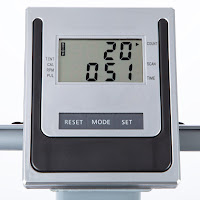 Ultega's multi-function LCD display, shows workout stats including time, steps/minute, total steps, pulse & calories burned