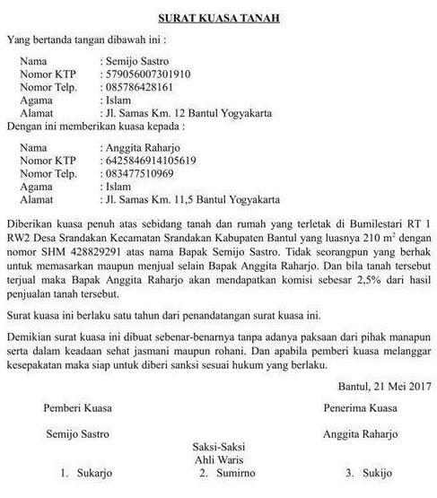 contoh surat kuasa untuk mewakili ahli waris