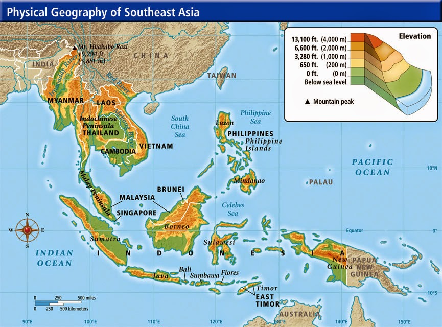 physical map southeast asia southasia geography