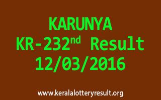 KARUNYA KR 232 Lottery Result 12-3-2016