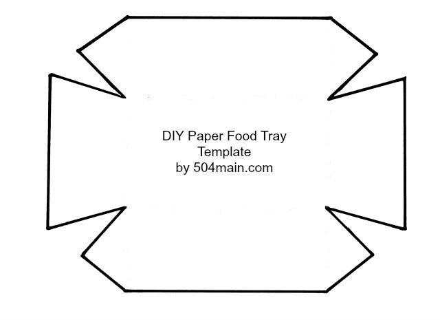 DIY Paper Food Tray Template by 504Main without dotted lines