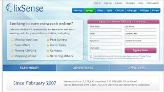 Mainpage von ClixSense