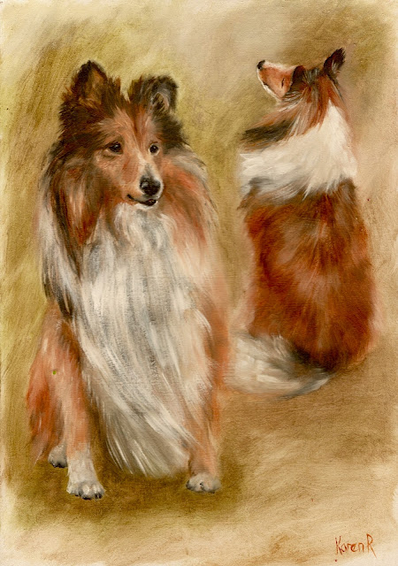 Oil sketch of two shelties, one facing forwards, one with her back to us, A4 size