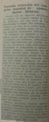 Alekhine en Lérida en 1944, recorte de La Mañana