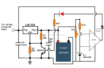 6v 12v 24v battery charger circuit electronic circuit projects this automatic battery charger circuit can be used for charging all lead acid or smf batteries having voltages in between 3 and 24 volts