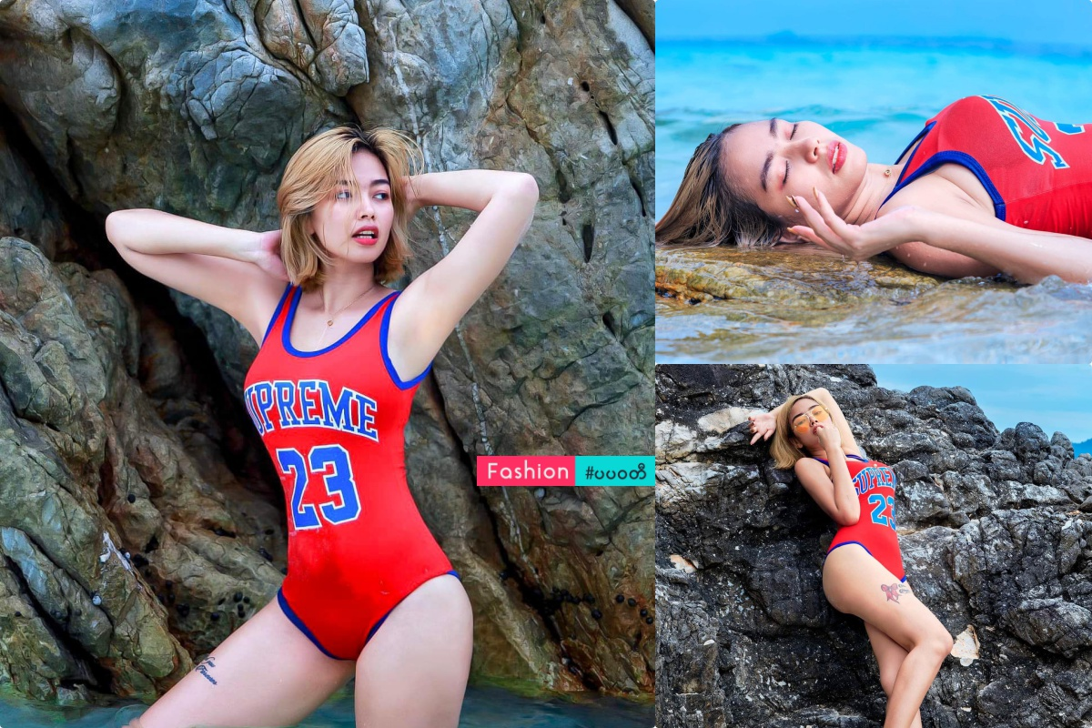 Nwe Nwe tun Beach Photoshoot in Supreme 23 Red Fashion Outfit