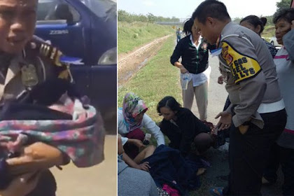 Viral, Video Polisi Bantu Ibu Melahirkan di Pinggir Tol Cipali