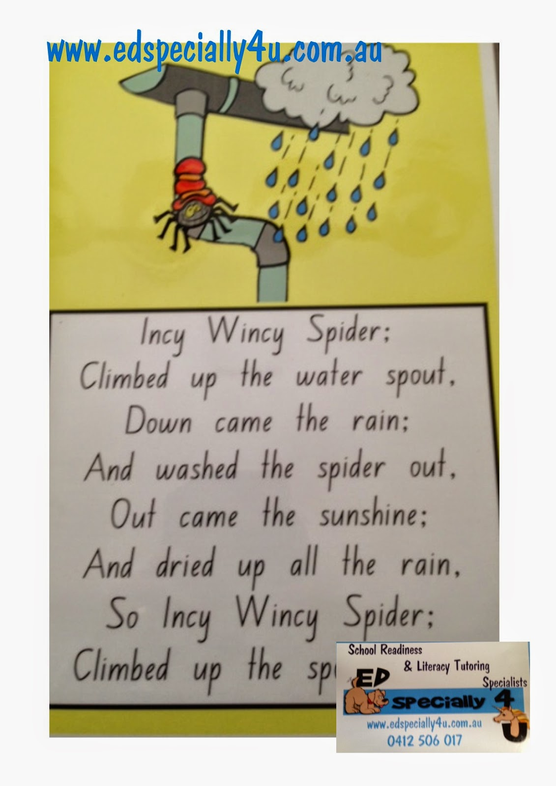 For The Love Of Learning Ed Specially 4u Incy Wincy Spider