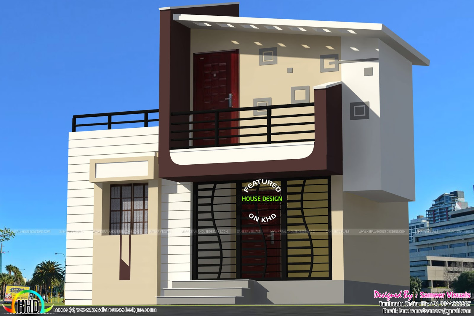 Third Floor Elevation : Sq ft contemporary house in small plot kerala home