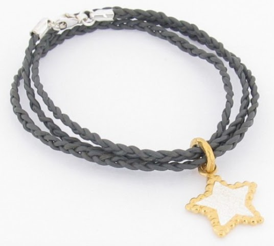 Ana Verdun Silver & Gold Plated Bobble Star Braided Leather Bracelet