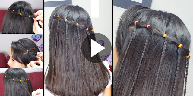 Learn - How To Create Simple Elastic Waterfall Hairstyle, See  Tutorial