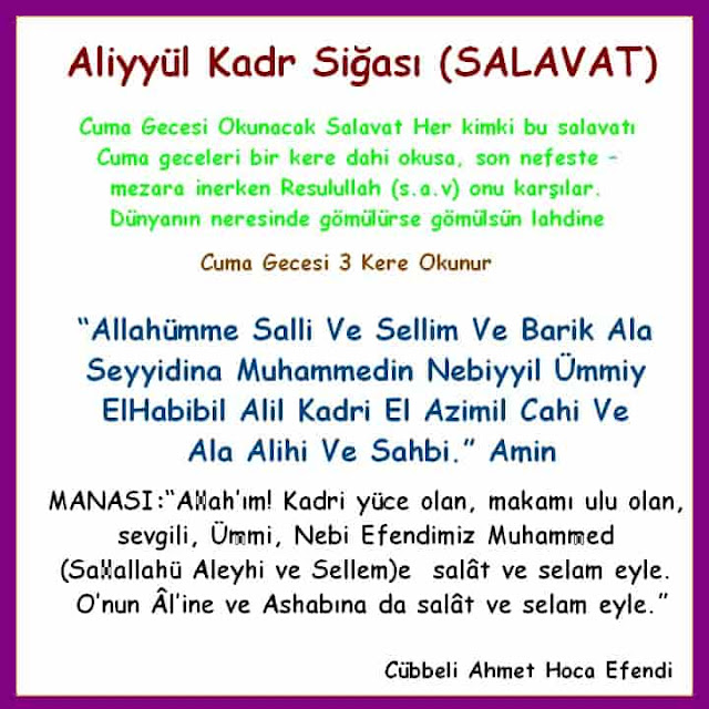 Aliyyül Kadr Siğas  (Salavat)